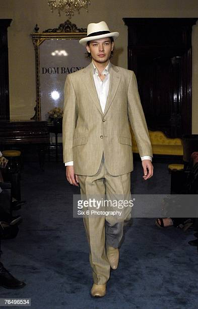 Model showcases designs on the catwalk at the Dom Bagnato Salon Show as part of Motorola Melbourne Spring Fashion Week 2007 at Melbourne Town Hall on...