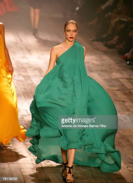 Model showcases designs on the catwalk at the Lanvin ready to wear fashion show as part of the Paris spring/summer 2008 Fashion Week on October 07,...