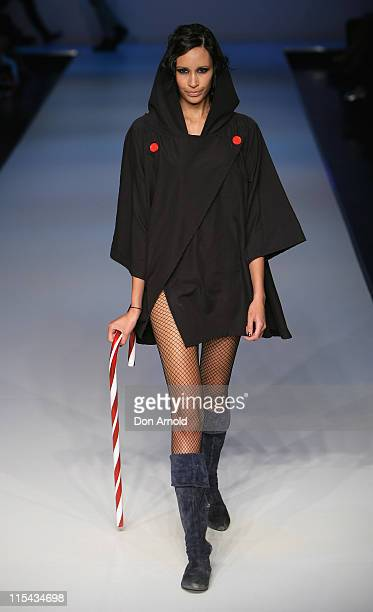 Model showcases designs on the catwalk by BamBam Cloth as part of the Ready To Wear show on the third and final day of Rosemount Australian Fashion...