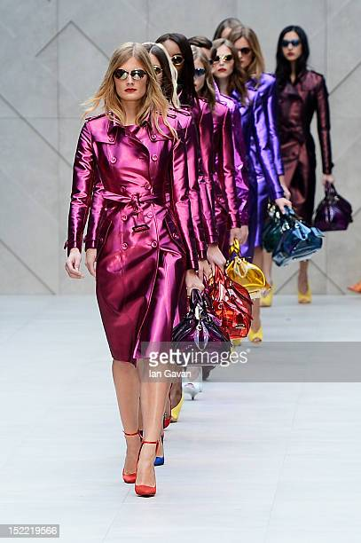 A model showcases designs on the catwalk by Burberry Prorsum on day 4 of London Fashion Week Spring/Summer 2013 at Kensington Gardens on September 17...