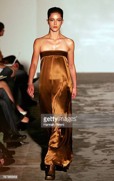 A model showcases designs on the catwalk by Cybele on the first day of Air New Zealand Fashion Week 2007 at Viaduct Harbour Marine Village on...
