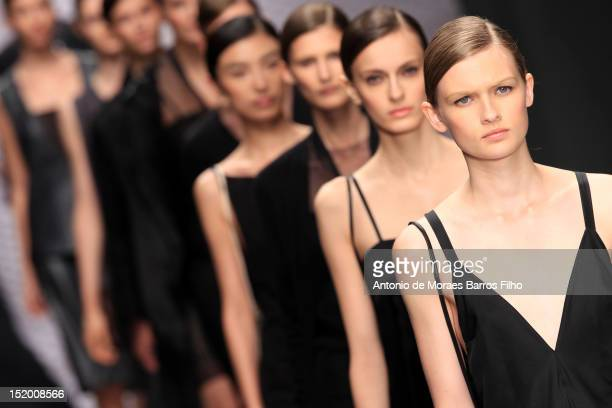 A model showcases designs on the catwalk by Daks on day 2 of London Fashion Week Spring/Summer 2013 at the Courtyard Show Space on September 15 2012...