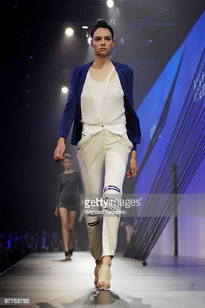 A model showcases designs on the catwalk by Dion Lee as part of L'Oreal Paris Runway 2 on the second day of the 2010 L'Oreal Melbourne Fashion...