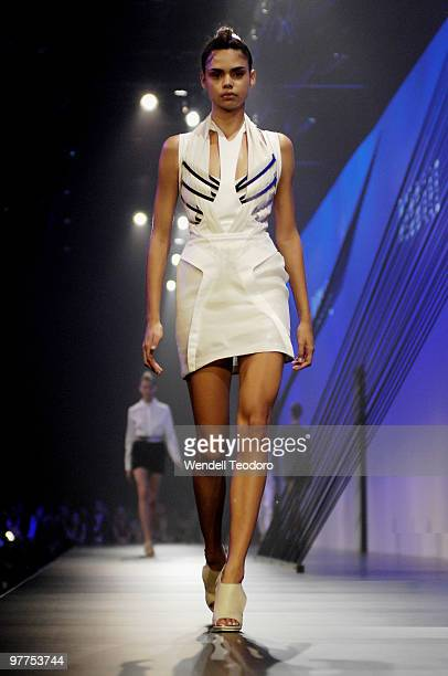 A model showcases designs on the catwalk by Dion Lee as part of the LMFF Fashion Collections 1 / L'Oreal Paris Runway 2 on the second day of the 2010...