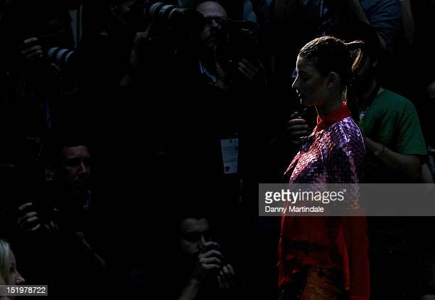 A model showcases designs on the catwalk by Fyordor Golan on day 1 of London Fashion Week Spring/Summer 2013 at The Waldorf Hilton Hotel on September...