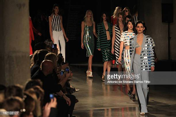 Model showcases designs on the catwalk by Jonathan Saunders on day 3 of London Fashion Week Spring/Summer 2013, on September 16, 2012 in London,...