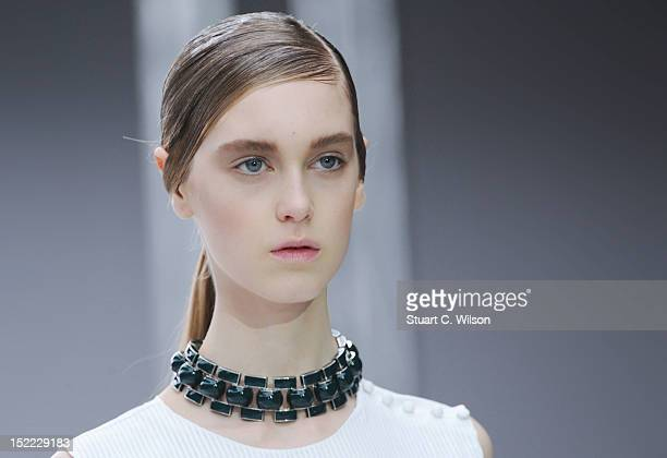 Model showcases designs on the catwalk by J.W.Anderson on day 4 of London Fashion Week Spring/Summer 2013, at the Topshop Venue on September 17, 2012...