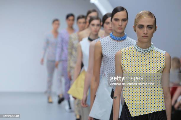 A model showcases designs on the catwalk by JWAnderson on day 4 of London Fashion Week Spring/Summer 2013 at the Topshop Venue on September 17 2012...