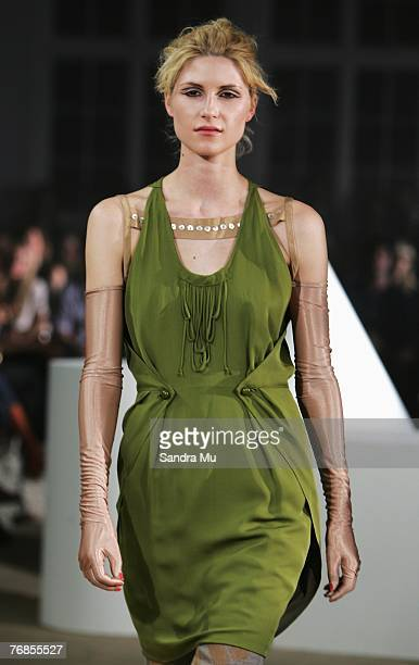 Model showcases designs on the catwalk by Kate Sylvester on the third day of Air New Zealand Fashion Week 2007 off site at Surrey Cresent on...
