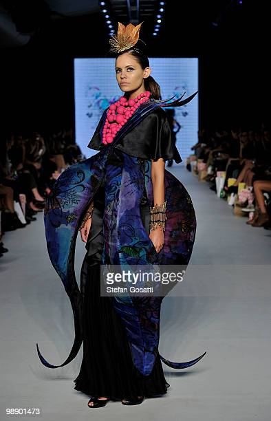 Model showcases designs on the catwalk by Khrysalis during the New Generation collection show on the fifth and final day of Rosemount Australian...