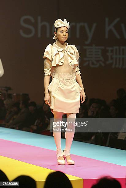 A model showcases designs on the catwalk by Michael Lau on the first day of Hong Kong Fashion Week Autumn/Winter 2008 at Hong Kong Convention...
