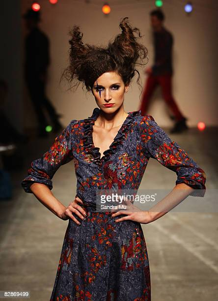 Model showcases designs on the catwalk by Michael Pattison as part of the Coco Ready to Wear show on the third day of Air New Zealand Fashion Week...