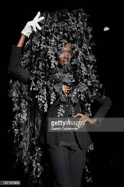 Model showcases designs on the catwalk by Philip Treacy on day 3 of London Fashion Week Spring/Summer 2013, at The Royal Courts Of Justice on...