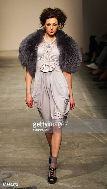 Model showcases designs on the catwalk by Sheryl May as part of the Coco Ready to Wear show on the third day of Air New Zealand Fashion Week 2008 at...