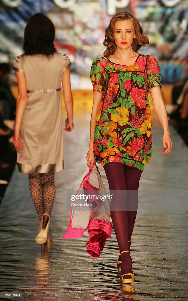 A model showcases designs on the catwalk by Trelise Cooper on the