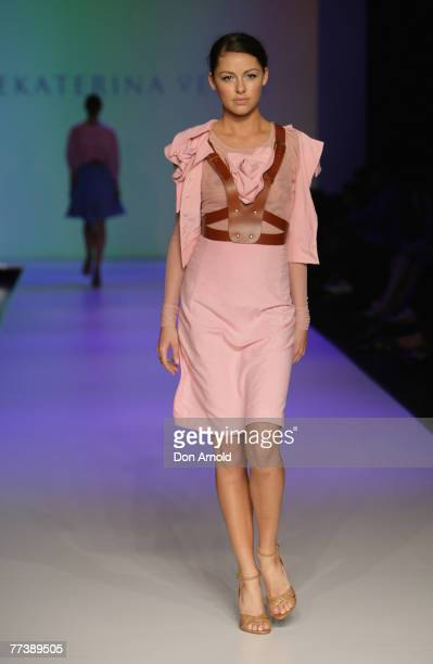 Model showcases designs on the catwalk by Yekaterina Peker as part of the Ready To Wear show on the third and final day of Rosemount Australian...