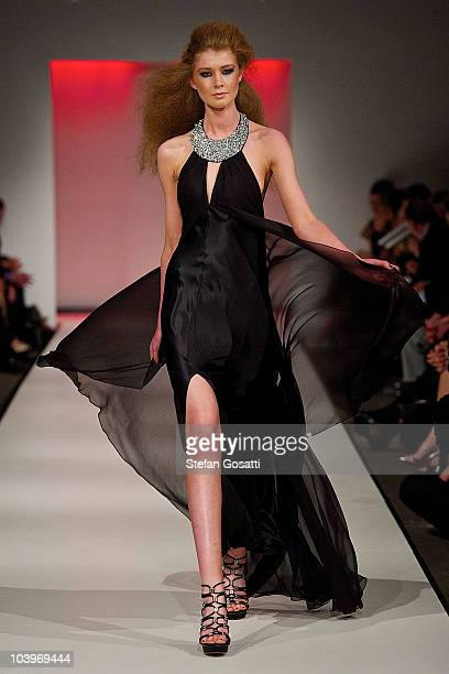 Model showcases designs on the catwalk during the Ruth Tarvydas catwalk show as part of Perth Fashion Week 2010 at Fashion Paramount on September 10,...