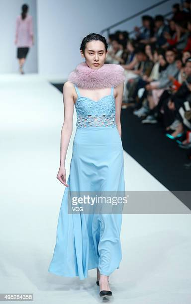 Model showcases designs on the runway at ALICIA LEE Li Kun Collection during the Mercedes-Benz China Fashion Week S/S 2016 Collection at 751D.PARK on...