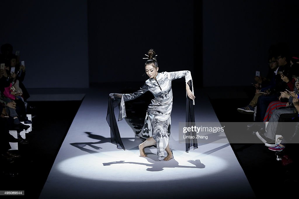 A model showcases designs on the runway at Chantel Gong Gong Hangyu Finery Collection show during the Mercedes-Benz China Fashion Week Spring/Summer 2016 at 751D.PARK on October 31, 2015 in Beijing, China.