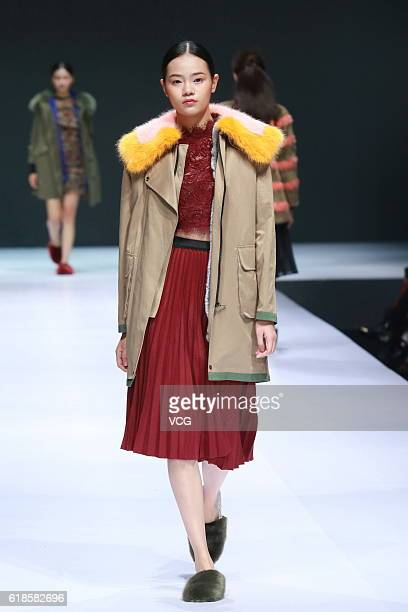 Model showcases designs on the runway at K Fashion Project Collection during the Mercedes-Benz China Fashion Week Spring/Summer 2017 at 751D.PARK on...
