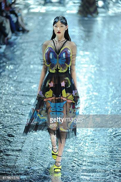 Model showcases designs on the runway at Mary Katrantzou Collection during the Mercedes-Benz China Fashion Week Autumn/Winter 2016/2017 at 751D.Park...