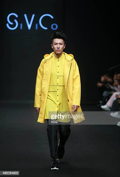 Model showcases designs on the runway at SIVICO Qiao Dan & WhiteFog Yu Qian Collection during the Mercedes-Benz China Fashion Week S/S 2016...
