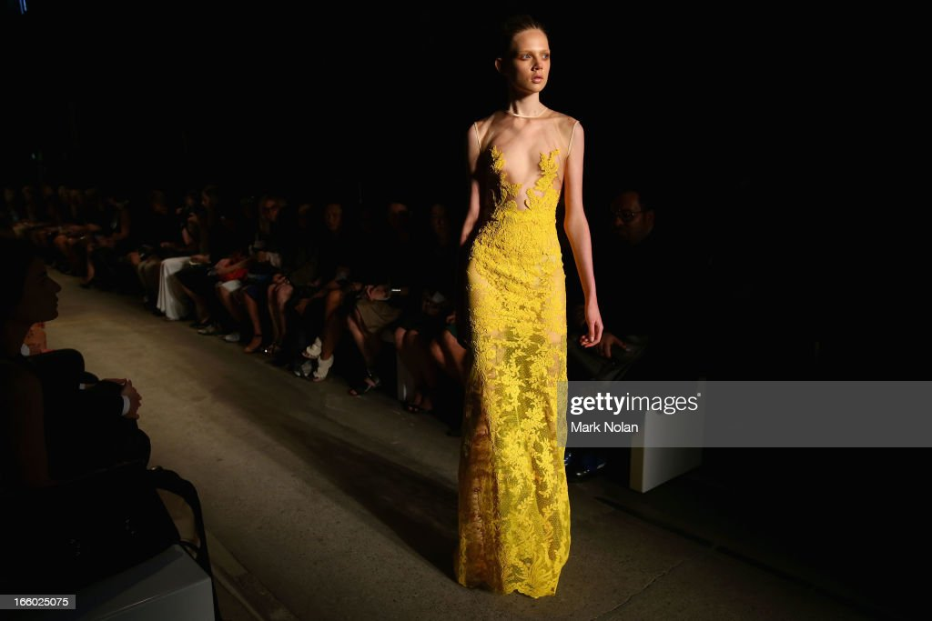 A model showcases designs on the runway at the Alex Perry show during Mercedes-Benz Fashion Week Australia Spring/Summer 2013/14 at Carriageworks on April 8, 2013 in Sydney, Australia.