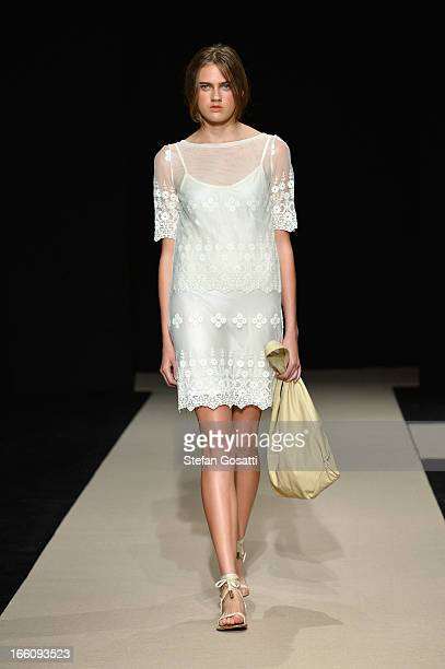 A model showcases designs on the runway at the Flannel show during MercedesBenz Fashion Week Australia Spring/Summer 2013/14 at Carriageworks on...