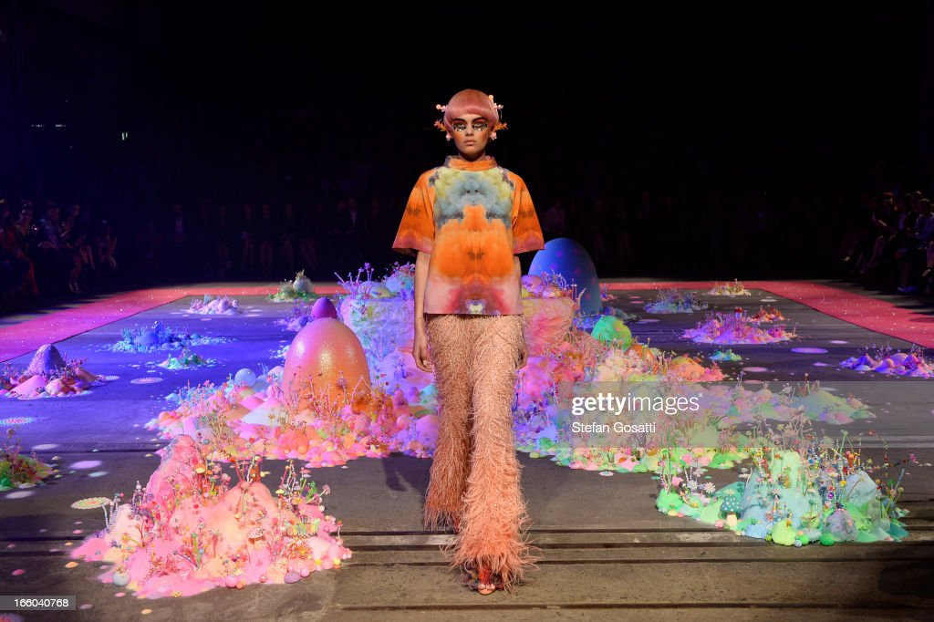 A model showcases designs on the runway at the Romance Was Born show during Mercedes-Benz Fashion Week Australia Spring/Summer 2013/14 at Carriageworks on April 8, 2013 in Sydney, Australia.