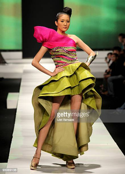 A model showcases designs on the runway by Jeanny Ang as part of APPMI Show 5 on day two of Jakarta Fashion Week 2009 at the Fashion Tent Pacific...