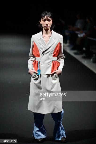 Model showcases designs on the runway during the 8th Asia Fashion Collection of Rakuten Fashion Week TOKYO 2021 spring/summer on October 15 2020 in...