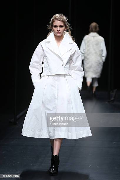 A model showcases designs on the runway during the A DEGREE FAHRENHEIT show as part of Mercedes Benz Fashion Week TOKYO 2015 A/W at Shibuya Hikarie...