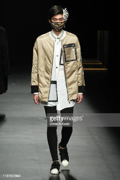Model showcases designs on the runway during the ACUOD by CHANU show as part of Amazon Fashion Week TOKYO 2019 A/W on March 21, 2019 in Tokyo, Japan.