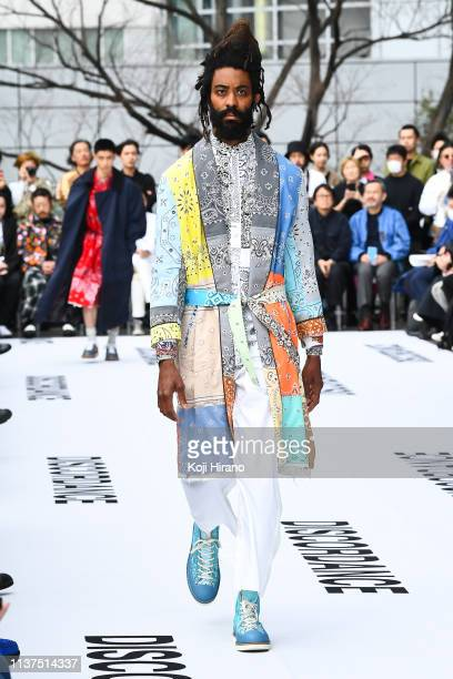 Model showcases designs on the runway during the Children of the discordance show as part of Amazon Fashion Week TOKYO 2019 A/W at Shibuya Hikarie...