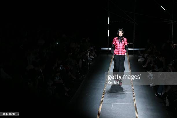 Model showcases designs on the runway during the House of Holland show as part of Mercedes Benz Fashion Week TOKYO 2015 A/W at Shibuya Hikarie on...