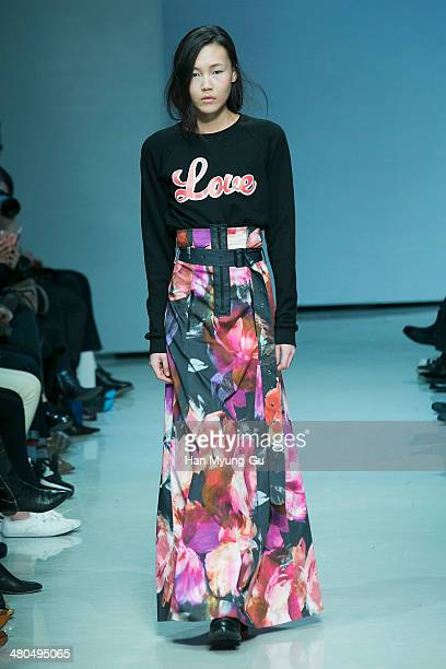 Model showcases designs on the runway during the Jain Song show as part of Seoul Fashion Week F/W 2014 at DDP on March 25, 2014 in Seoul, South Korea.