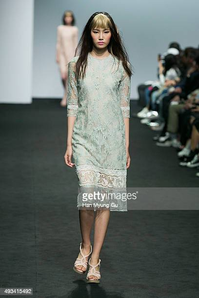 A model showcases designs on the runway during the 'Jain Song' show as part of HERA Seoul Fashion Week S/S 2016 at DDP on October 20 2015 in Seoul...