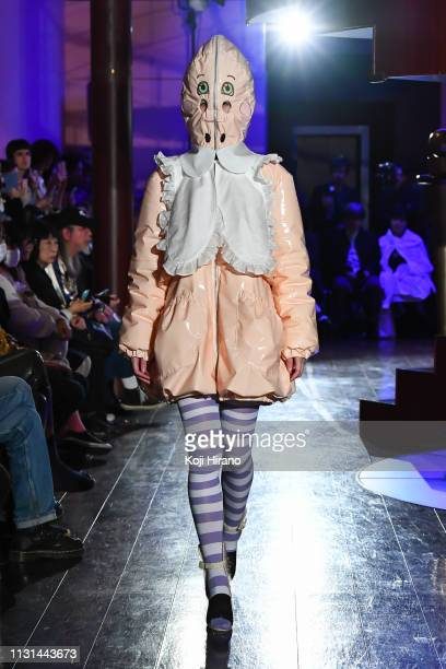 Model showcases designs on the runway during the JENNYFAX show as part of Amazon Fashion Week TOKYO 2019 A/W at Shibuya Hikarie Hall on March 18,...