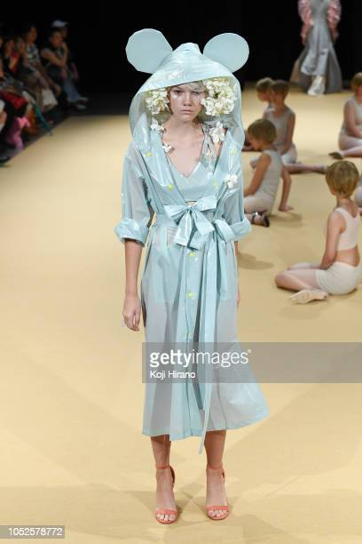 A model showcases designs on the runway during the MEMUSE show as part of Amazon Fashion Week TOKYO 2019 S/S at Shibuya Hikarie on October 20 2018 in...