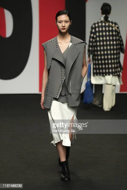 Model showcases designs on the runway during the PARTs-PARTs show as part of Seoul Fashion Week F/W 2019 on March 22, 2019 in Seoul, South Korea.
