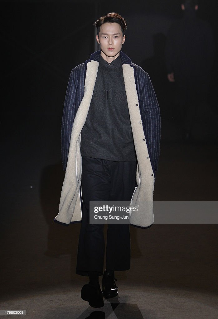 A model showcases designs on the runway during the Roliat show as part of Seoul Fashion Week A/W 2014 on March 21, 2014 in Seoul, South Korea.