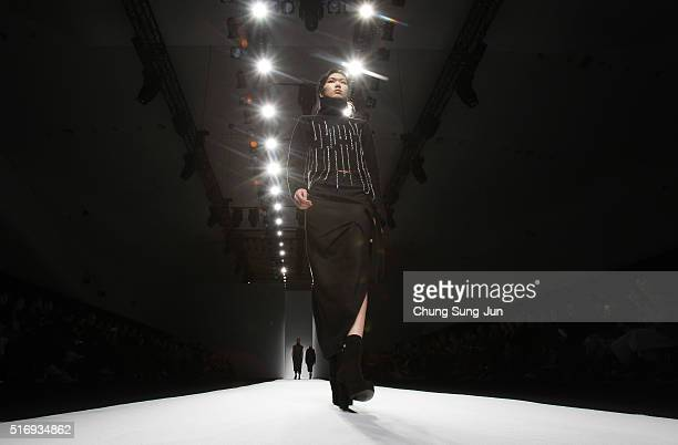 A model showcases designs on the runway during the Soulpot Studio show as part of HERA Seoul Fashion Week F/W 2016 on March 22 2016 in Seoul South...
