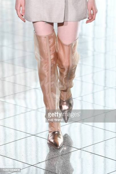 A model showcases designs on the runway during the STAIR show as part of Amazon Fashion Week TOKYO 2019 S/S at CARATO 71 on October 15 2018 in Tokyo...