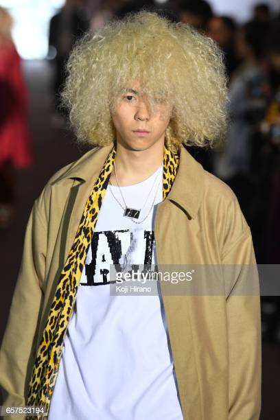 A model showcases designs on the runway during the TAAKK show as a part of Amazon Fashion Week Tokyo A/W 2017 at Shibuya Hikarie on March 25 2017 in...