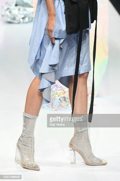 A model showcases designs on the runway during the VIVIANO SUE show as part of Amazon Fashion Week TOKYO 2019 S/S at Shibuya Hikarie on October 19...