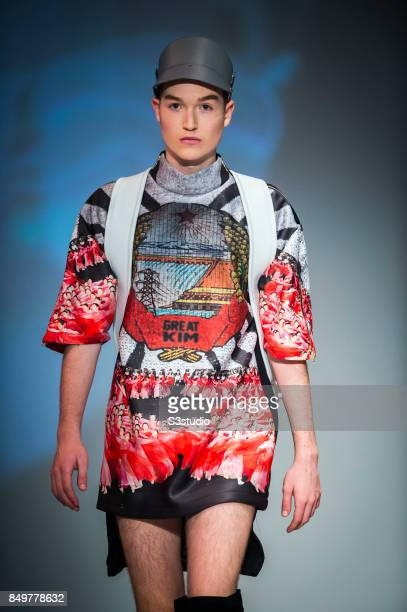 Model showcases designs The Great Kim by 8 CUFF during the Visceral Instinct show by Raffles Hong Kong as part of the Fashion Week for Spring /...
