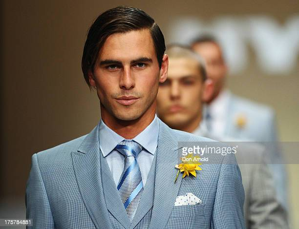 Model showcases desigs by Dom Bagnato at the Myer Spring/Summer 2014 Collections Launch at Fox Studios on August 8, 2013 in Sydney, Australia.