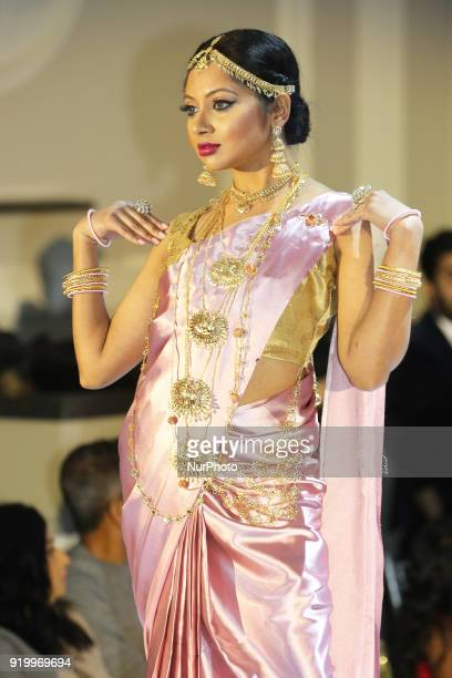 Model showcases exquisite bridal jewellery during a South Asian bridal fashion show held in Toronto Ontario Canada on February 17 2018