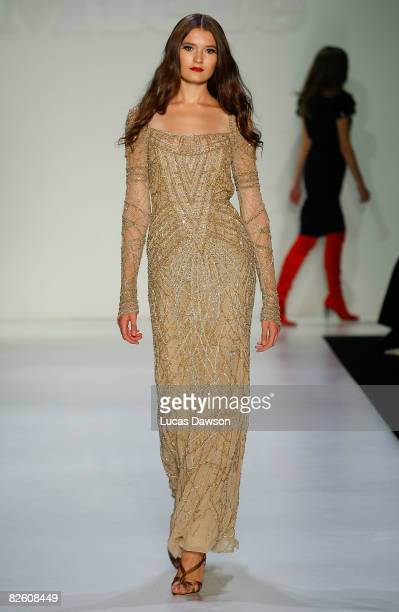 A model showcases Fall Winter 2008 collection designs by Escada as part of the Best Of MasterCard Luxury Week Hong Kong presented by Miele show on...
