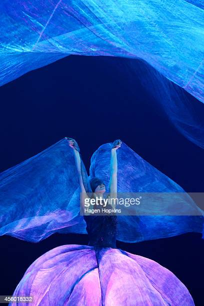 A model showcases garments from artists and designers from all around the world at the dress rehearsal of WOW at TSB Bank Arena on September 24 2014...
